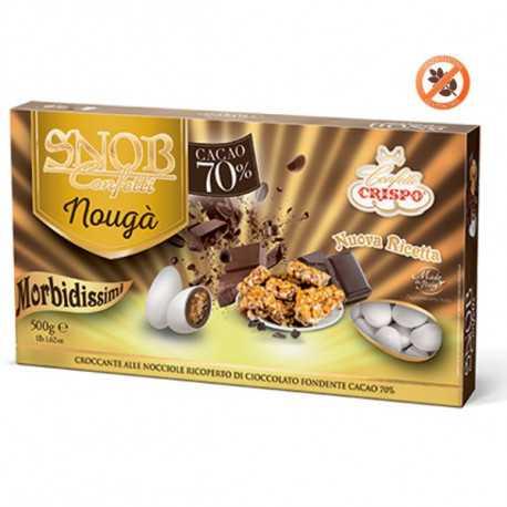 Confetti Snob Nougà: Croccante alle nocciole ricoperto di cioccolato fondente cacao 70%. Crispo Bianchi da 500 g
