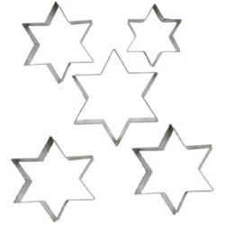 Set 5 Cutter o tagliapasta a forma di stella a sei punte in metallo