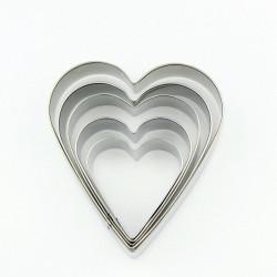 Set 5 Cutter tagliapasta cuore in metallo