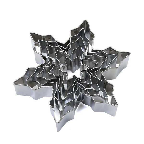 Set 5 Cutter Tagliapasta Fiocchi di Neve in metallo da 2,5 cm a 7 cm