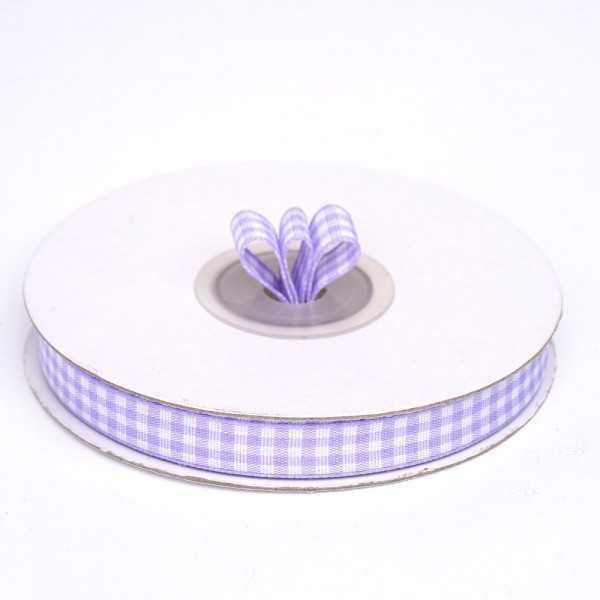 Nastro a quadretti lilla e bianco 10 mm x 25 m doppia faccia effetto tessuto vichy