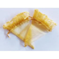 10 Coni cornucopia portaconfetti in organza oro