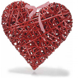 Cuore in Rattan rosso con nastro 15 cm x 15 cm