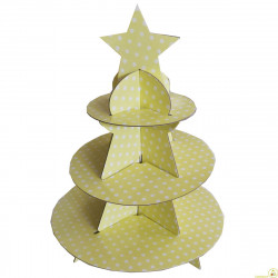 Set alzata per dolci 3 piani in cartoncino per alimenti a pois giallo crema