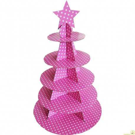 Set alzata per dolci 5 piani in cartoncino per alimenti a pois rosa