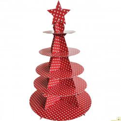 Set alzata per dolci 5 piani in cartoncino per alimenti a pois rosso