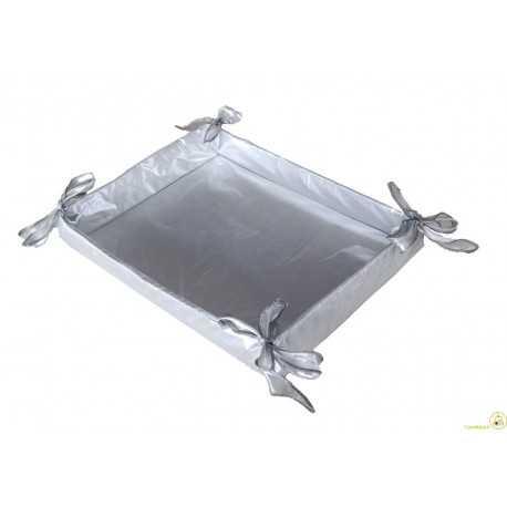 Cesto Bomboniere in tessuto argento 36 cm x 27 cm