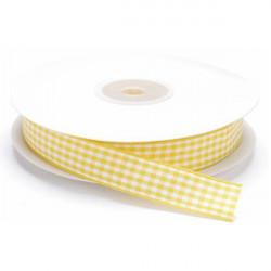 Nastro a quadretti giallo e bianco 10 mm x 25 m doppia faccia effetto tessuto vichy