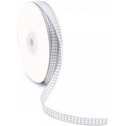 Nastro a quadretti grigio e bianco 10 mm x 25 m doppia faccia effetto tessuto vichy