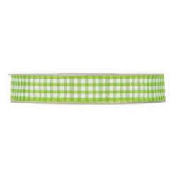 Nastro a quadretti verde e bianco 10 mm x 25 m doppia faccia effetto tessuto vichy