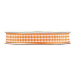 Nastro a quadretti arancione e bianco 10 mm x 25 m doppia faccia effetto tessuto vichy