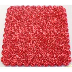 50 Velo Fata in Tulle Orlato Quadrato a Pois Puntinato Rosso