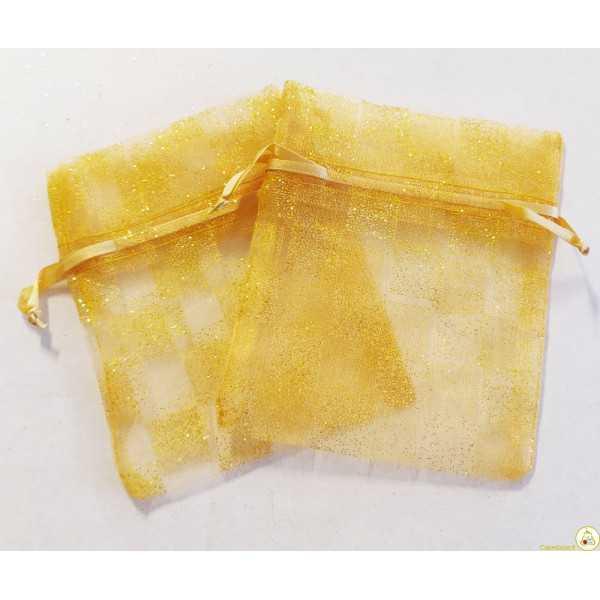 10 sacchettini portaconfetti in organza color oro glitterati a scacchi, con tirante, larghi 10 cm ed alti 12 cm