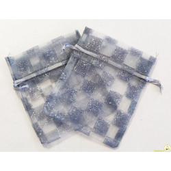 10 sacchettini portaconfetti in organza color argento glitterati a scacchi, con tirante, larghi 10 cm alti 12 cm