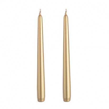 Coppia Candele coniche dorate alta 30 cm, diametro 2 cm