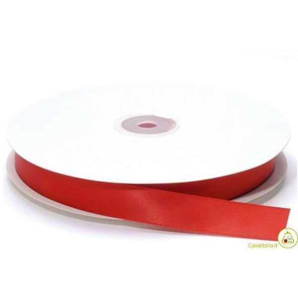 Nastro Doppio Raso Rosso largo 16 mm lungo 50 m