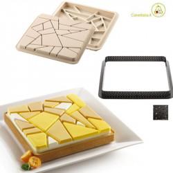 Kit Tarte Liberty Stampo in Silicone con Anello Quadrato per Crostata a Mosaico da 20 cm