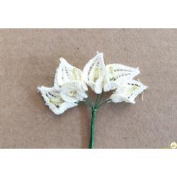 6 Fiori di Calle in pizzo merlettato macramè bianco 2 cm