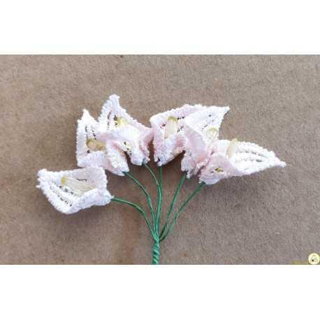 6 Fiori di Calle in pizzo merlettato macramè rosa 2 cm