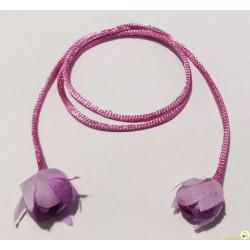 Cordino coda di topo da 3 mm x 50 cm con rose finali Lilla