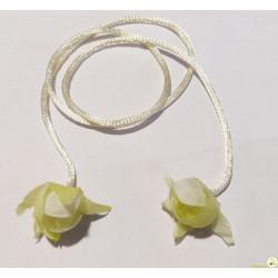 Cordino coda di topo da 3 mm x 50 cm con rose finali Avorio