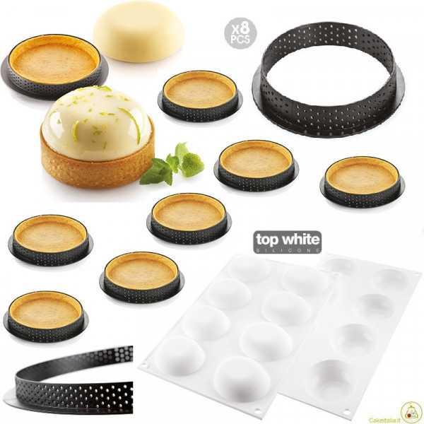 Kit Stampo 8 Crostatine alla Frutta Tonde con Anelli o Kit Tarte Ring Palet da 7 cm di Silikomart