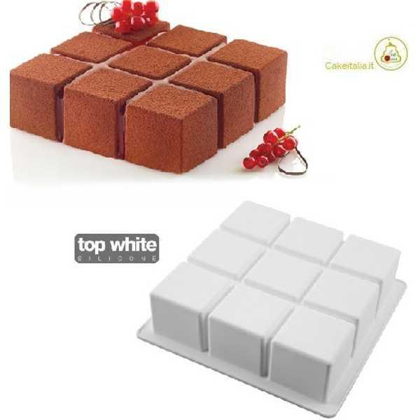 Stampo Cubik 1400 ml in silicone bianco top white di Silikomart