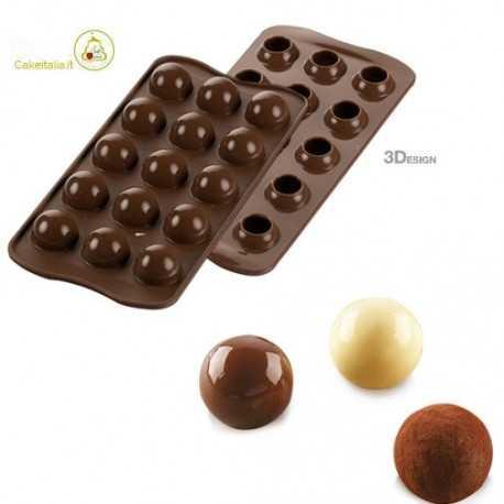 stampo cioccolatino tartufino da 25 mm linea 3Design di Silikomart