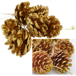 6 pigne finte su rametti da 4 cm per addobbi in oro