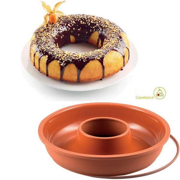 Stampo Ciambellone Basso o Savarin con anello in Silicone 24 cm x 5,5 cm da Silikomart