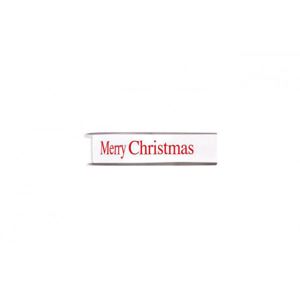 "Nastro Doppio Raso ""Merry Christmas"" Bianco 10mm x 45mt"