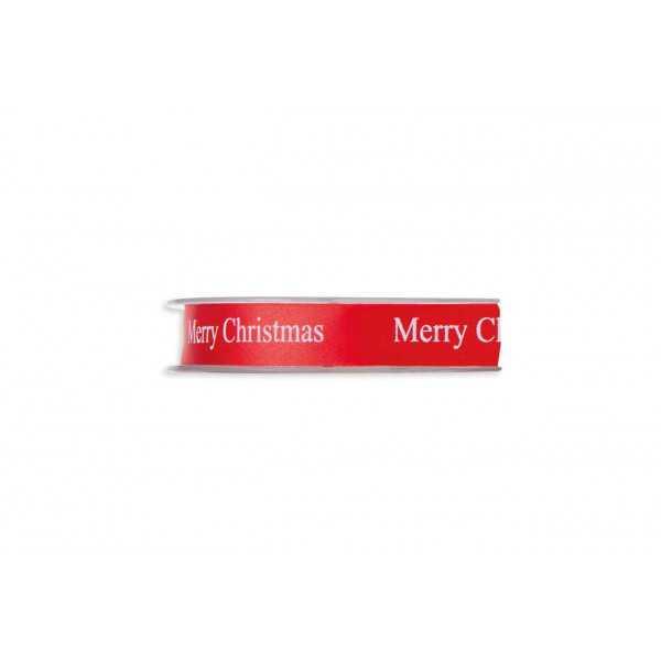 "Nastro Doppio Raso ""Merry Christmas"" Rosso 15mm x 45mt"