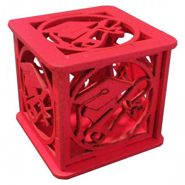 Scatolina portaconfetti in legno Laurea Rosso