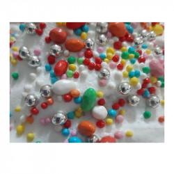 Confettini Misti: piccoli confetti di zucchero assortiti nella forma, dimensioni e colori in confezione da 125 g