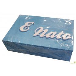 """Portagioie """"E' Nato"""" in Polistirolo Azzurro glitter 30x20x8cm"""