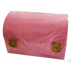Bauletto in Polistirolo Rosa glitter 30x20x18cm