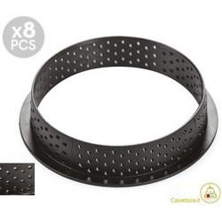 8 Stampi ad Anelli Tondi per Crostatine e Tortine Tarte Ring Round da 7 cm altezza 2 cm da Silikomart