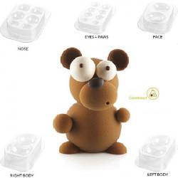 Stampo Cioccolato Orsetto Kit Teddy 3D in plastica termo-formata da Silikomart