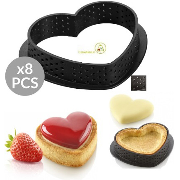 8 Stampi micro forati ad Anello per Crostatine o Tortine a forma di cuore Tarte Ring da 8 cm