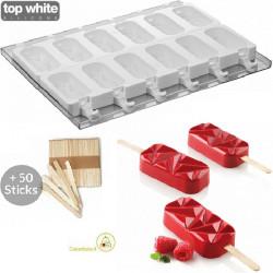 Set 2 Stampi gelato Cristalli Geometrici o Shock da Silikomart + 1 Vassoio + 50 bastoncini Stecco in legno di faggio
