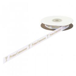 Nastro Doppio Raso con calice e scritta Prima Comunione in oro largo 15 mm, lungo 25 m
