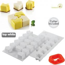 Stampo in silicone Puzzle 30 per dolci mignon a forma di tessera puzzle