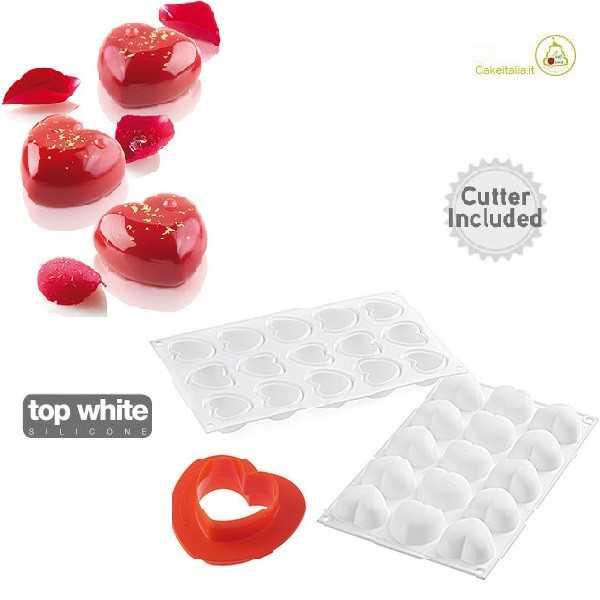 Stampo in silicone Cupido 30 per dolci mignon a forma di cuoricini mignon da Silikomart