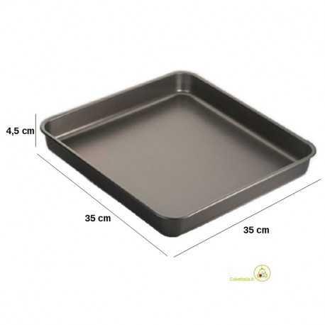 Teglia quadrata per pizza in alluminio teflonato lato 35 cm, altezza 45 mm