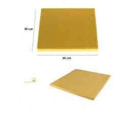 Base dorata per torta o vassoio sotto-torta quadrato dorata, cakeboard dorato lato 30 cm