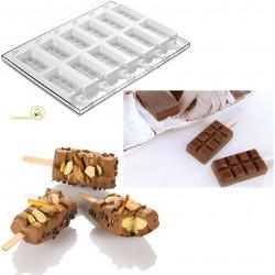 Set 2 Stampi gelato Chocostick da Silikomart + 1 Vassoio + 50 bastoncini Stecco in legno di faggio