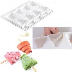 Set 2 Stampi gelato Torta o Wedding Stick da Silikomart + 1 Vassoio + 50 bastoncini Stecco in legno di faggio