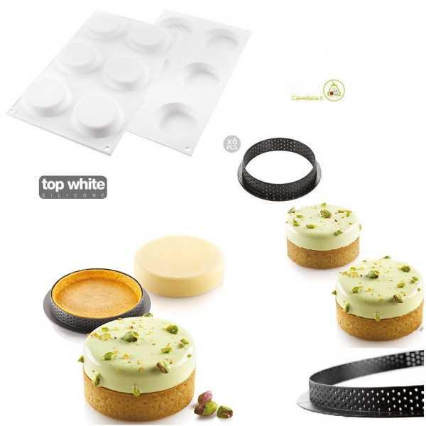 Kit Stampo 6 Crostatine Tonde classiche con Anelli o Kit Tarte Ring Klassik da 7 cm di Silikomart