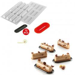 Stampo in Silicone Cylindre 30 in silicone più cutter e 12 vassoi da Silikomart