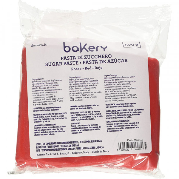500 g pasta di zucchero Rossa Decora